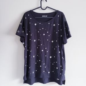 MBLM | Black Tshirt With stars and mesh design